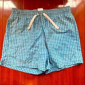 Mens blue and white check swim shorts